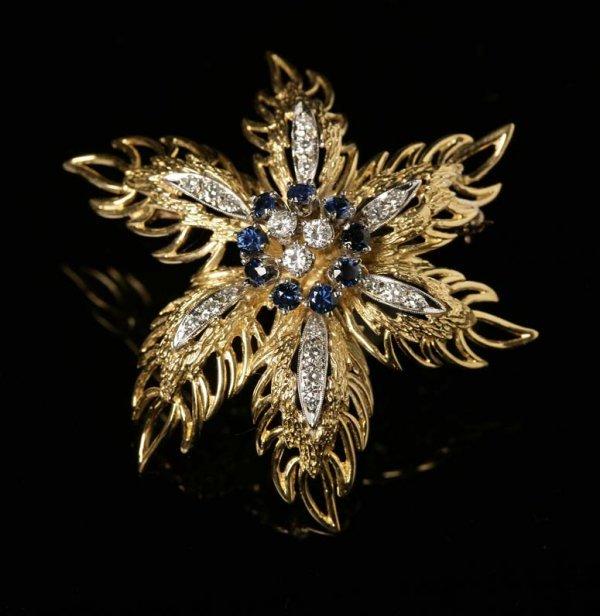 2016: A gold, sapphire and diamond flower brooch