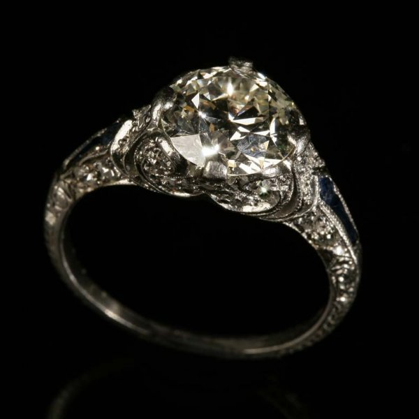 2021: An Art Deco platinum, diamond and sapphire ring