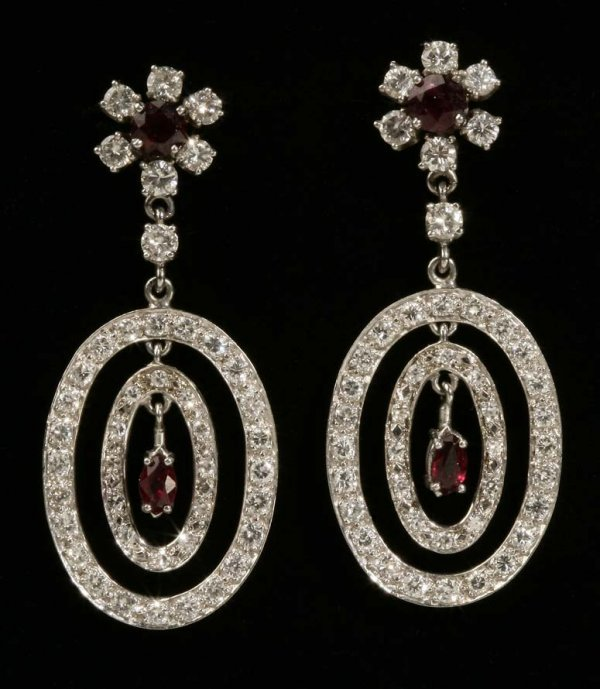 2024: A pair of ruby and diamond ear pendants