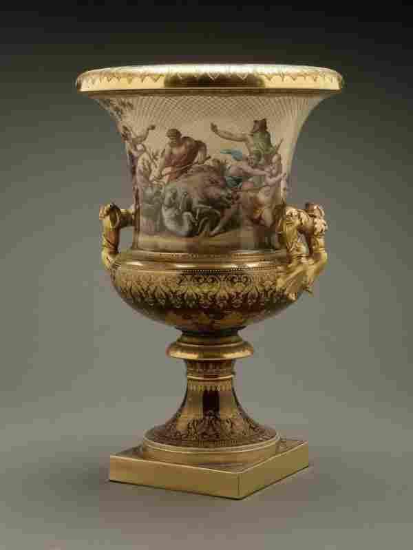 A German porcelain urn Calydonian boar hunt