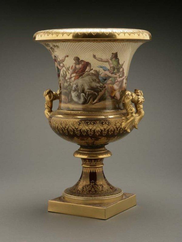 2072: A German porcelain urn Calydonian boar hunt