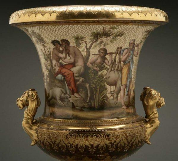 2072: A German porcelain urn Calydonian boar hunt - 3
