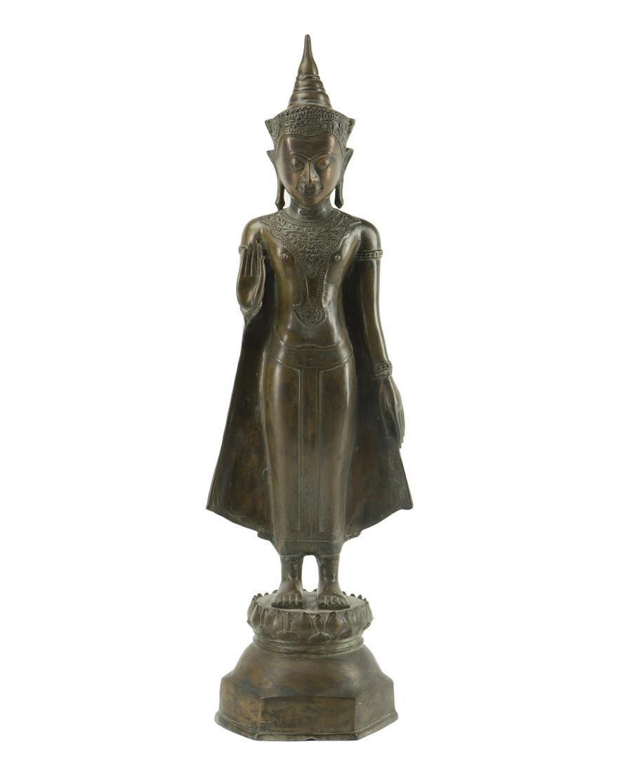 A Thai bronze standing buddha