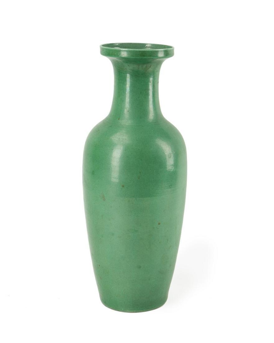A large Chinese green ceramic vase