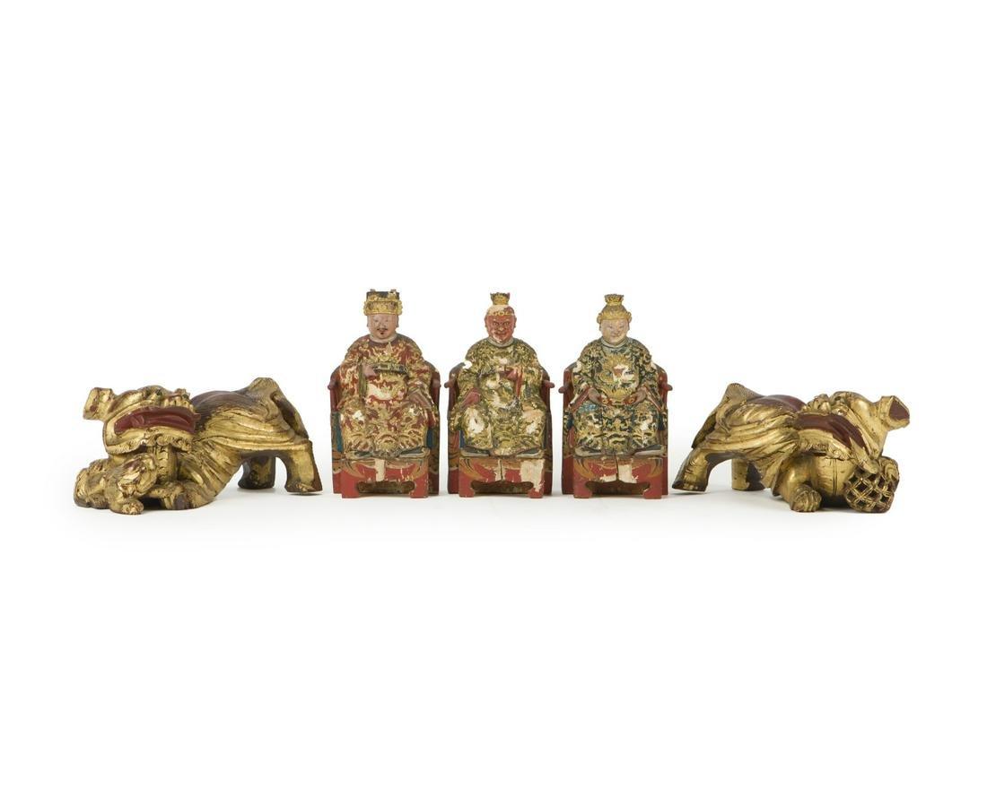 Five Asian decorative items