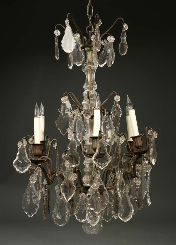 1005: A Louis XV style brass & pressed glass chandelier