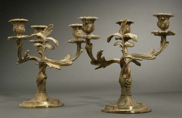 1007: A pair of Louis XV style gilt-bronze candelabra