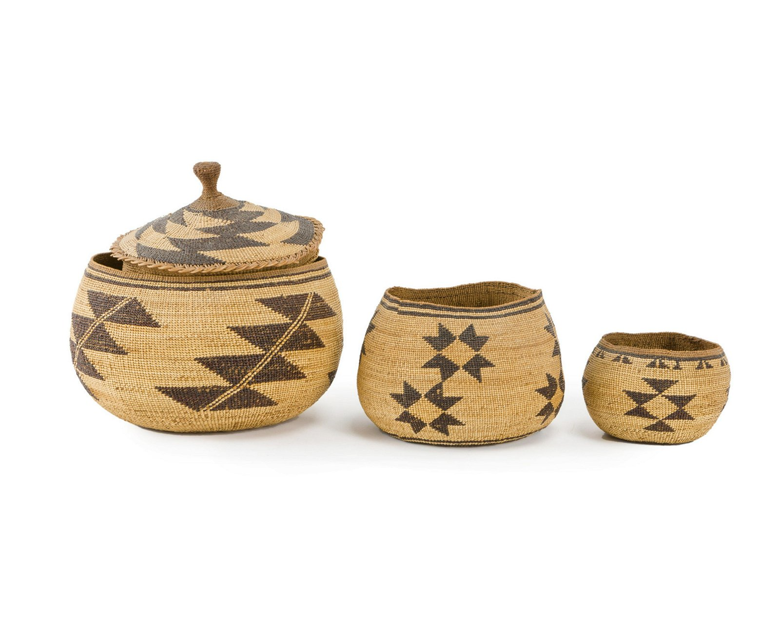 Three Hupa baskets