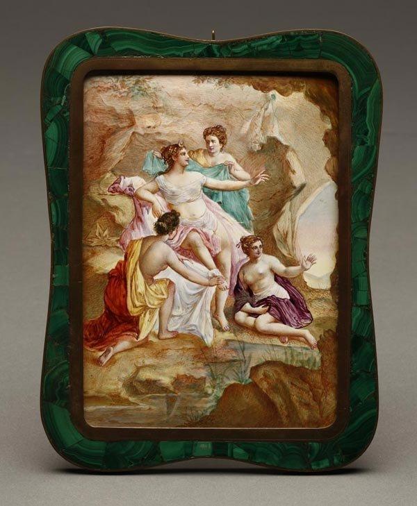 1007: A Continental enamel plaque Diana & attendants