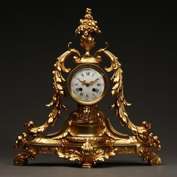 1009: Louis XVI style gilt bronze mantel clock Hersant