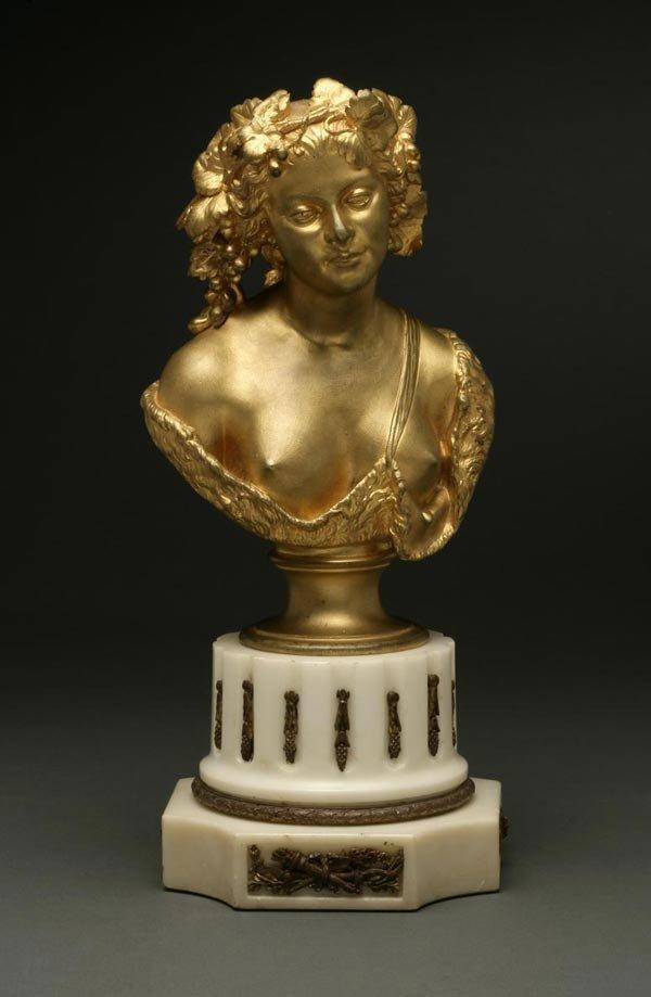 1010: A Continental gilt-bronze bust of a woman
