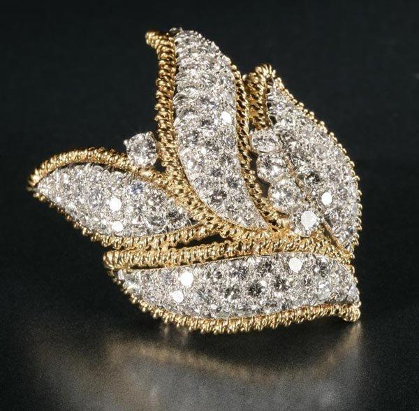 1020: A platinum, gold and diamond foliate brooch