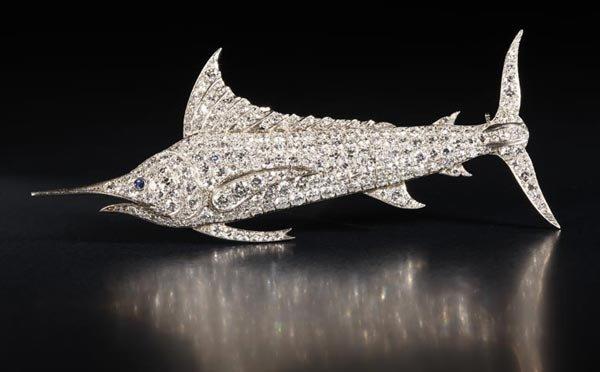 1021: Platinum, diamond and sapphire marlin fish brooch