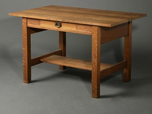 1062: Gustav Stickley oak library table desk #653