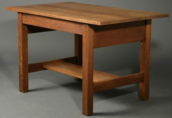 1062: Gustav Stickley oak library table desk #653 - 2