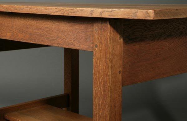1062: Gustav Stickley oak library table desk #653 - 4