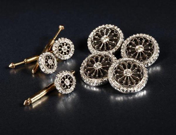 1217: An Art Deco gold, diamond and onyx dress set