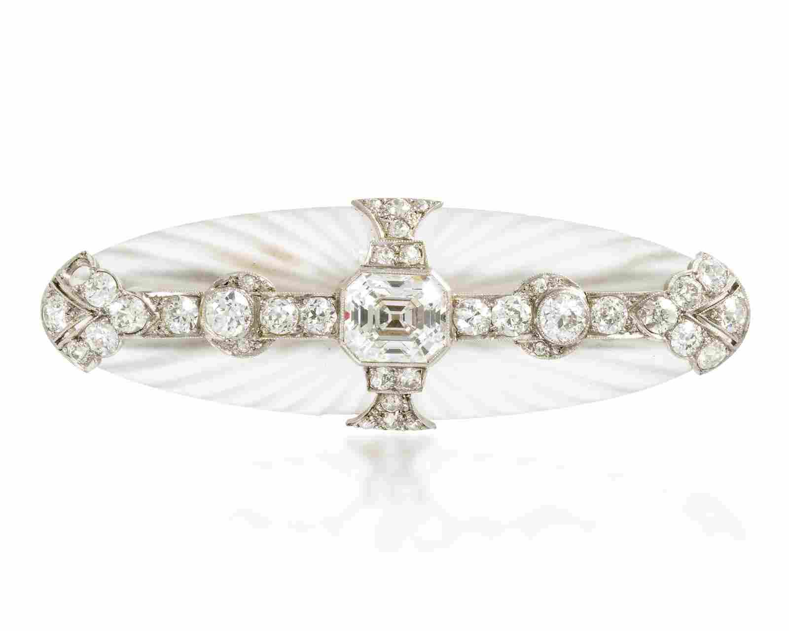 An Art Deco diamond and rock crystal brooch