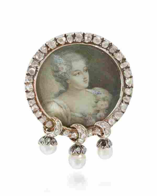 A diamond and pearl portrait miniature brooch
