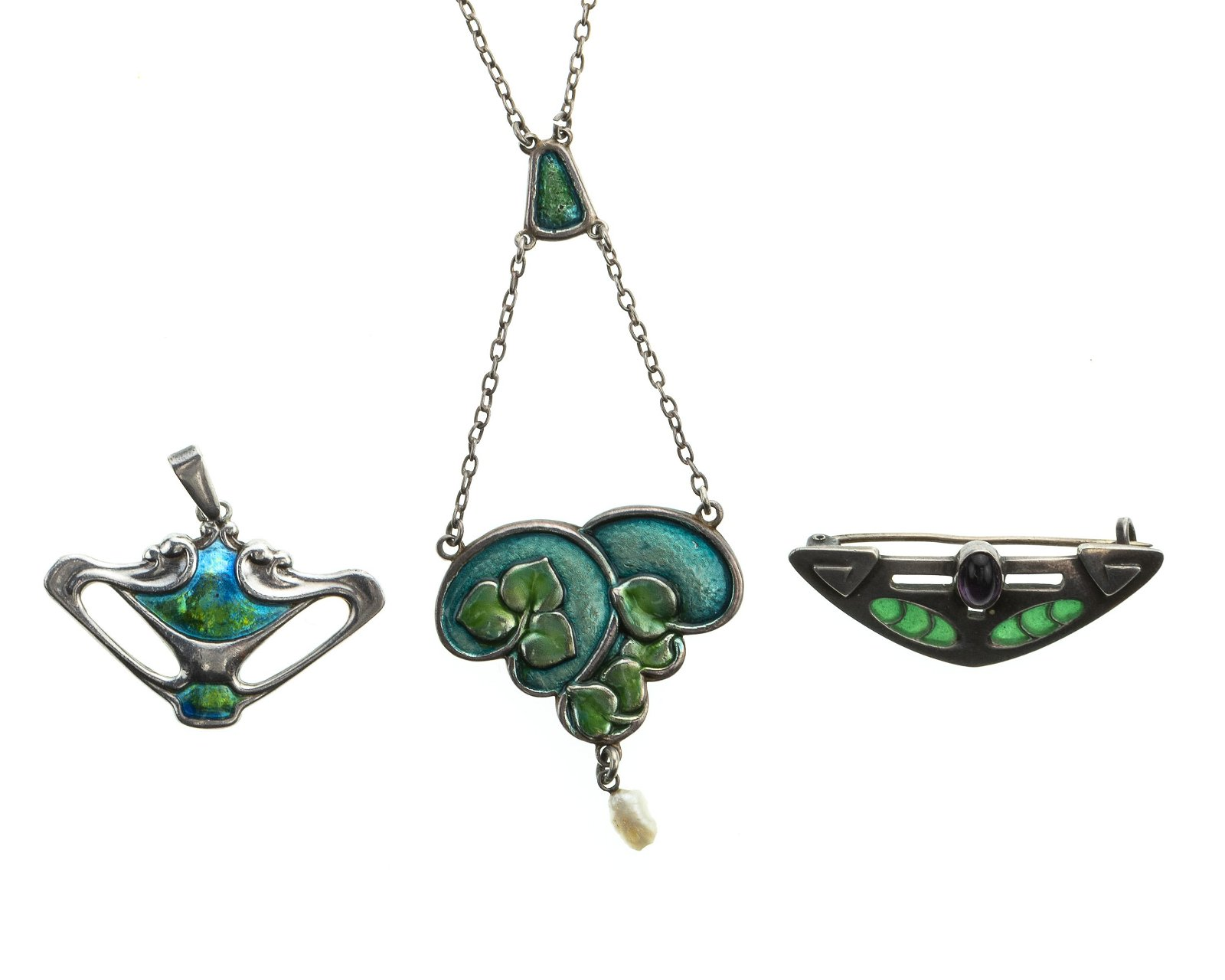 Three silver jewelry items