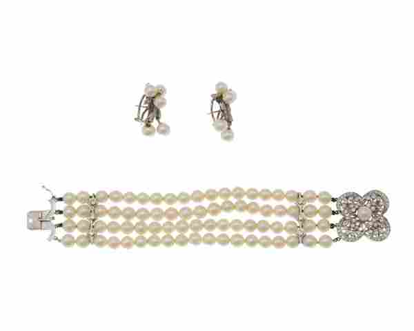 A group of diamond and cultured pearl jewelry items