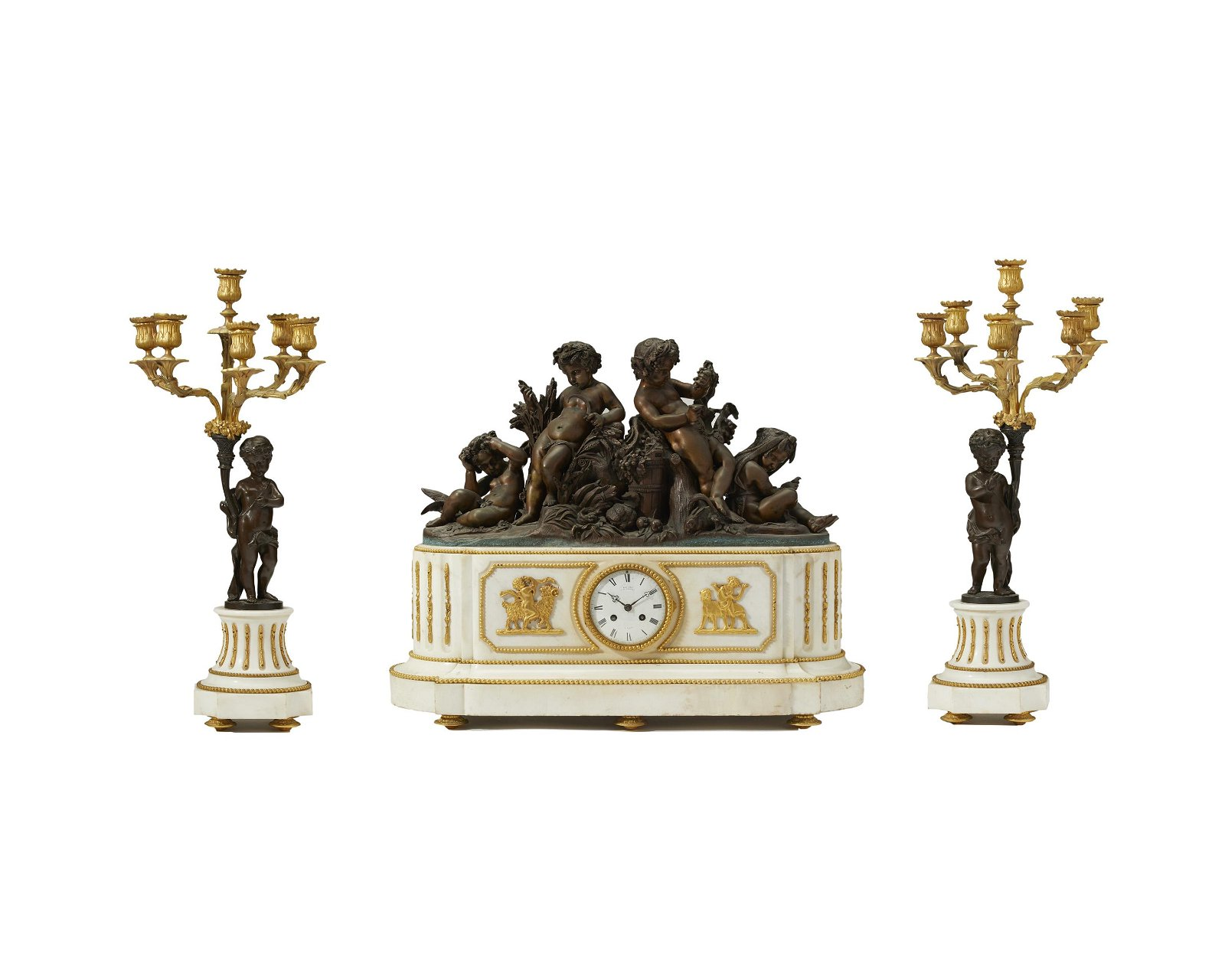 A Deniere France white marble and gilt-bronze clock set