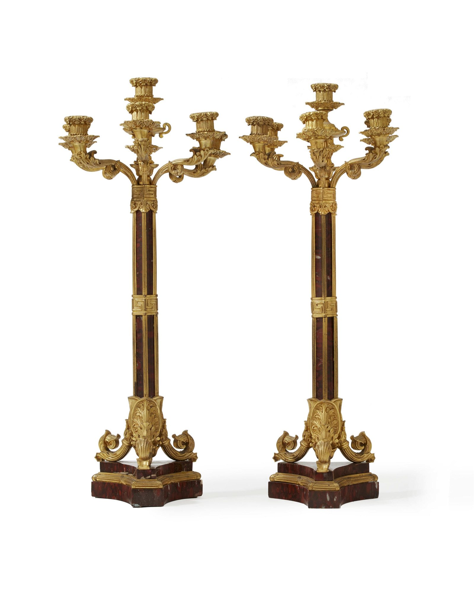 A pair of French gilt-bronze and rouge marble