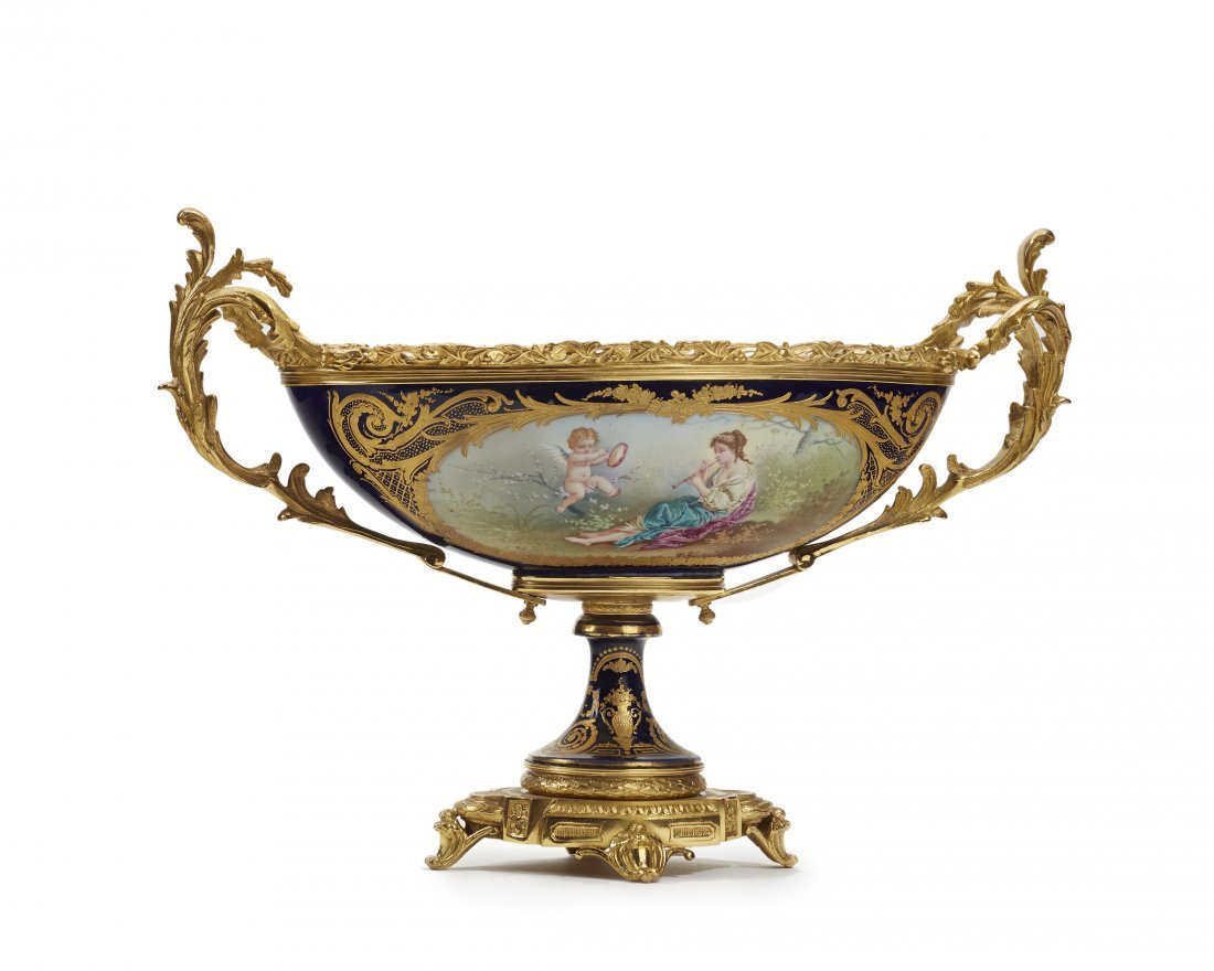 A French Sèvres-style gilt metal-mounted