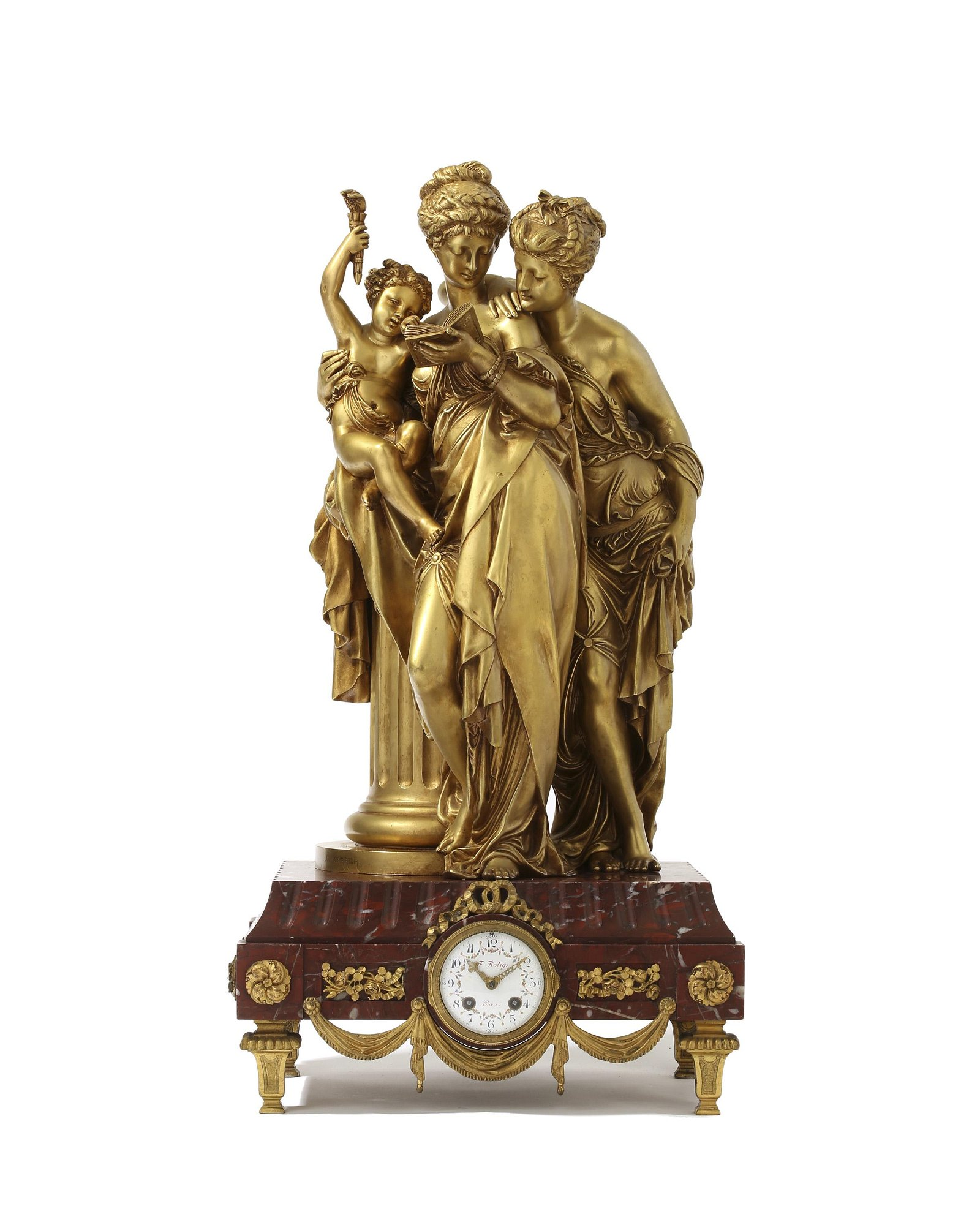 A Frederick Rotig gilt-bronze and rouge marble mantle