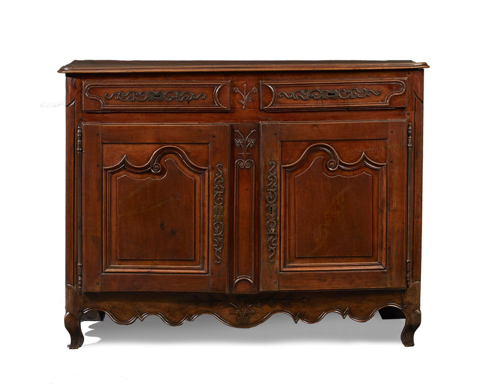 A French Provincial walnut two-door buffet