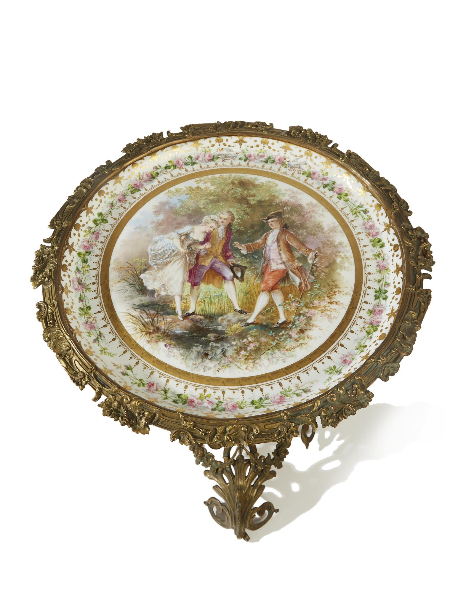 A gilt bronze-mounted Sèvres porcelain side