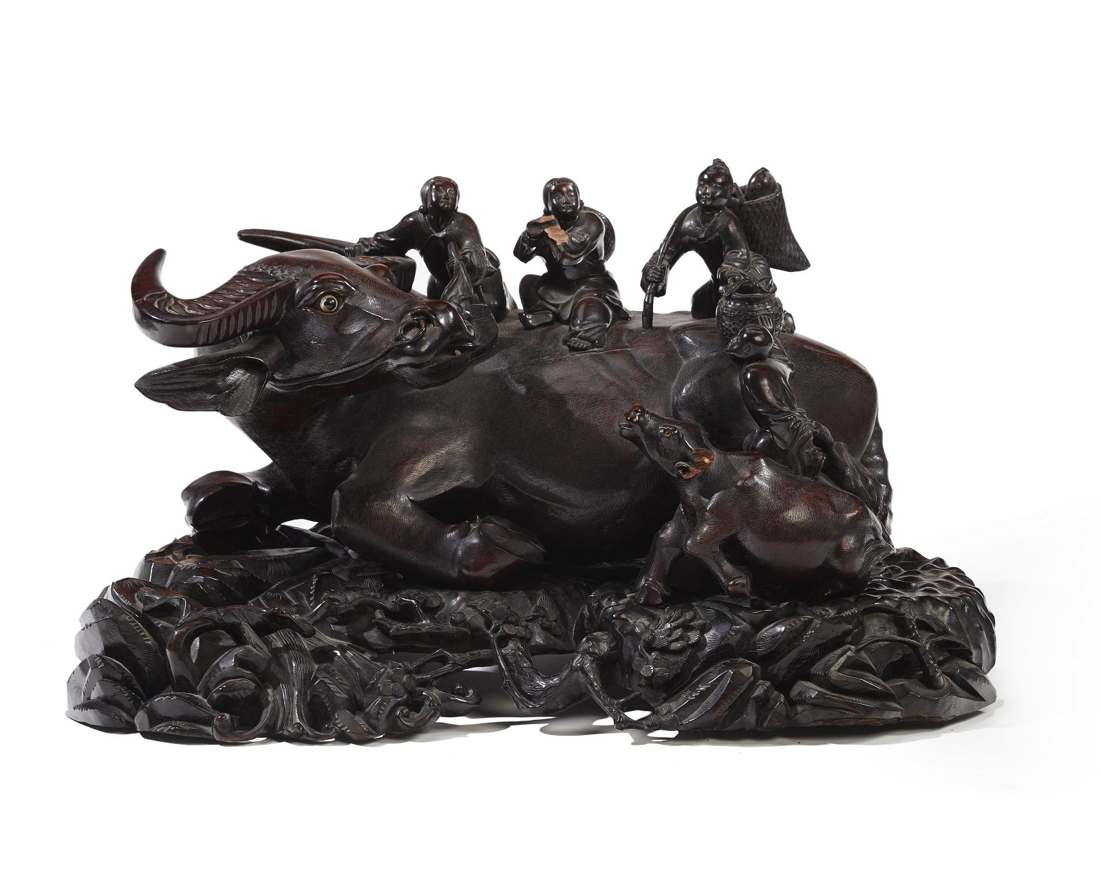 A large Chinese carved wood water buffalo