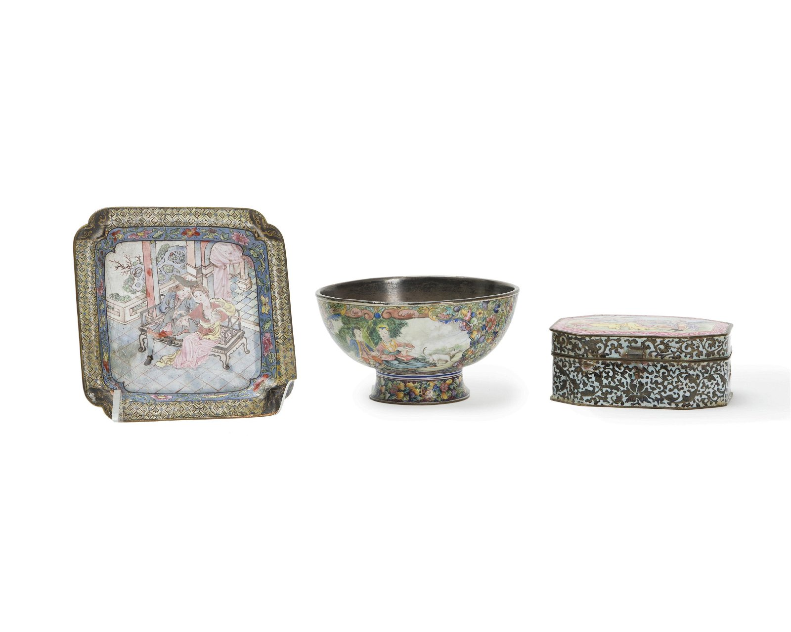 Three Chinese enameled table items for the Western