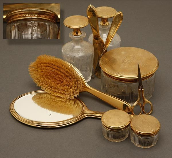 1005: A William B Kerr 14K gold etched glass vanity set