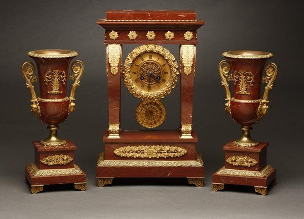 1007: Louis XVI style ormolu &  marble clock garniture