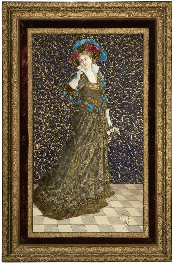 1010: A French coralene porcelain plaque of a beauty