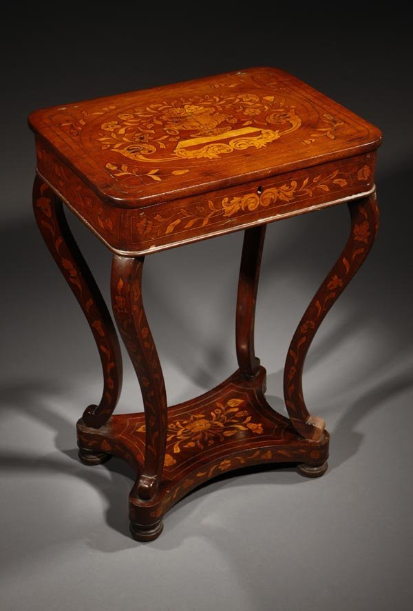 1011: A Dutch mahogany & marquetry sewing table