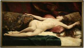 1119: Pre-Raphaelite, 19th c. French, reclining nude