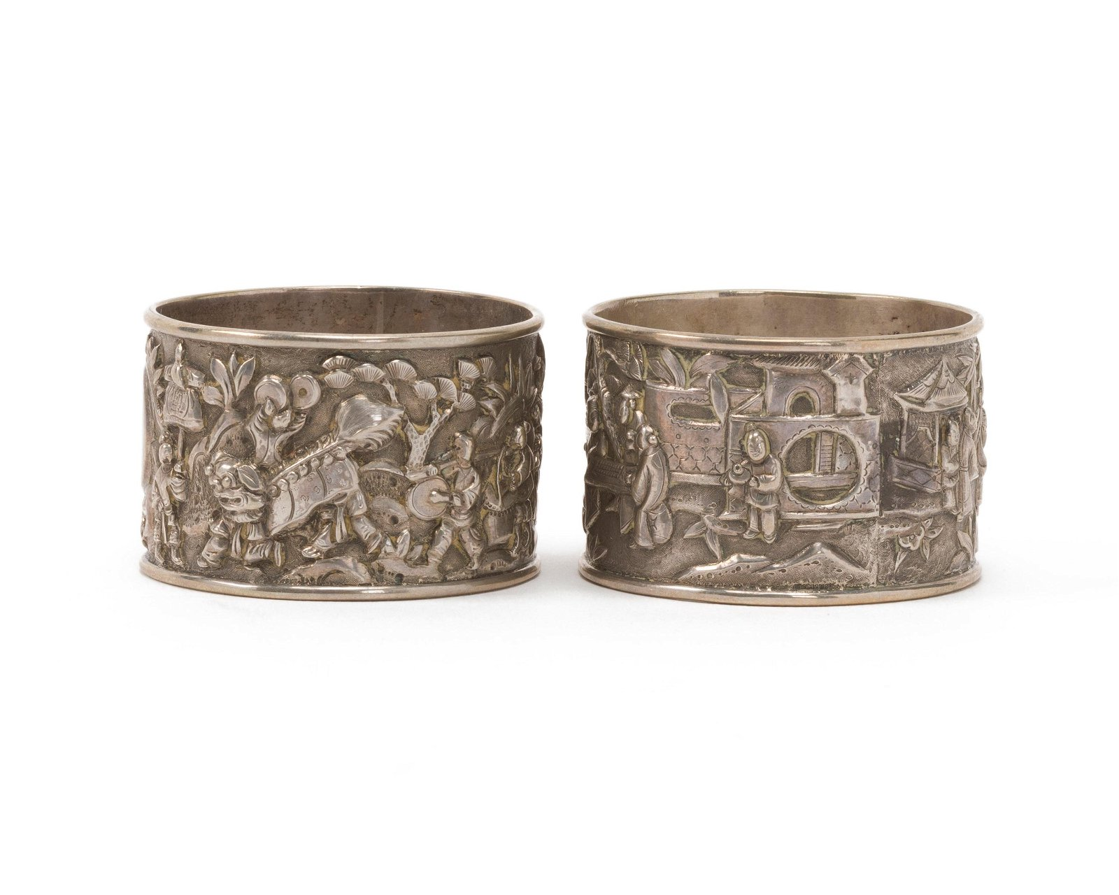 Two Chinese silver napkin rings