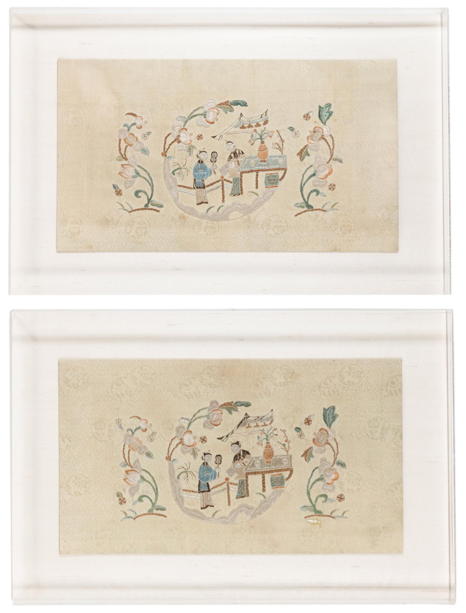 A pair of Chinese silk panels