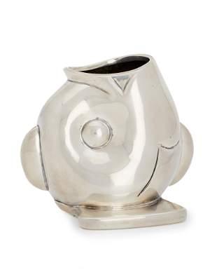 An Antonio Pineda Olmec-inspired silver fish vase
