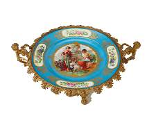 A French Sevres-style gilt-bronze mounted porcelain
