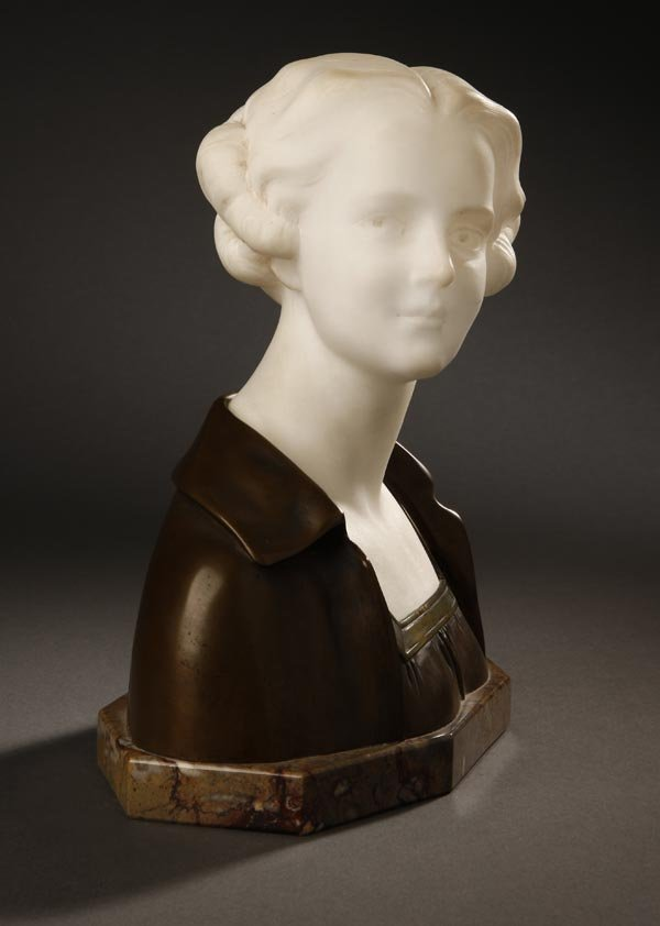 1001: Otto Poertzel, bronze & marble bust young woman