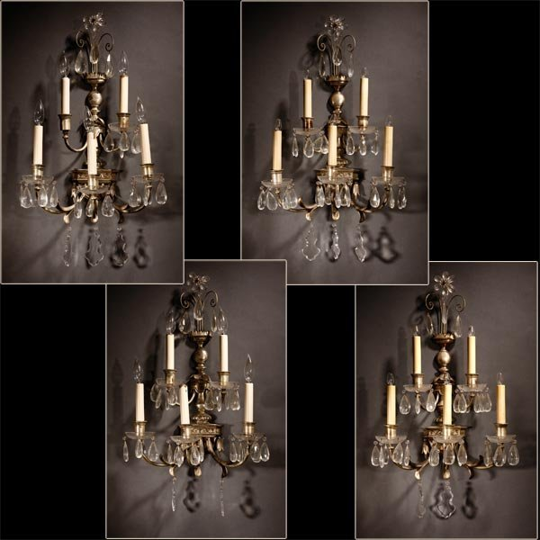 1002: Set of four Neoclassic style silvered wall lights