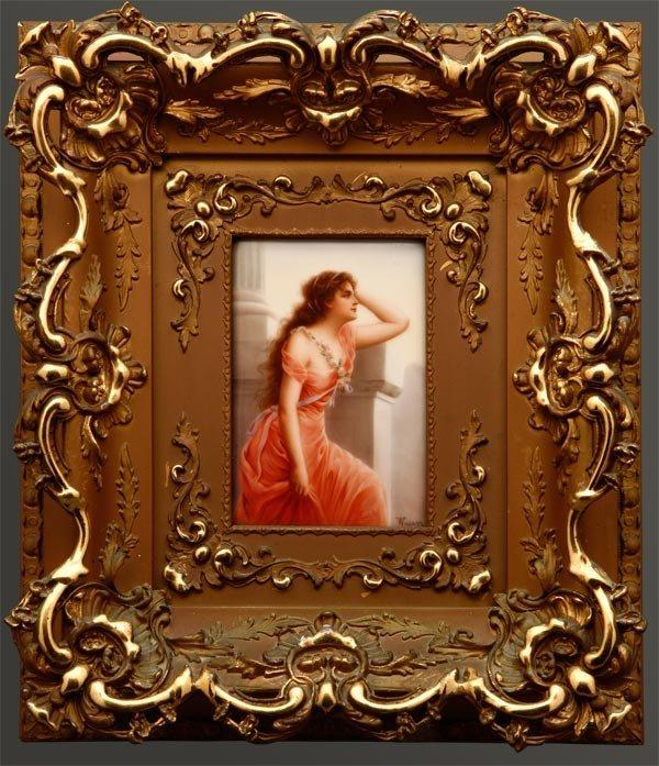 1004: A German porcelain plaque beauty 'Longing'
