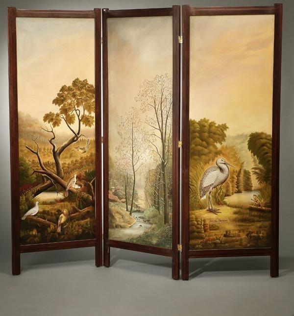 1006: C. E. Wood three panel screen birds landscape