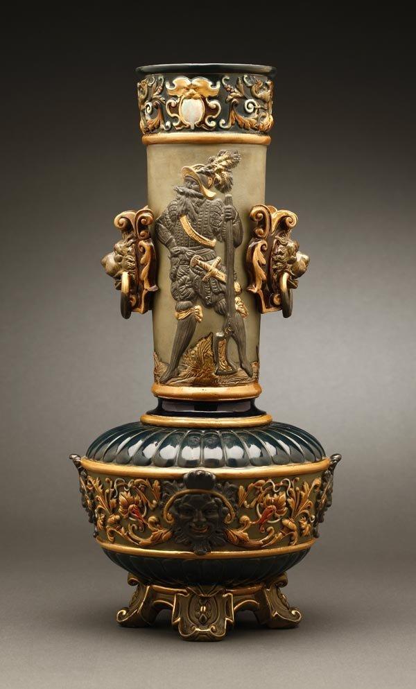 1007: A Bohemian Wilhelm Schiller & Son majolica vase