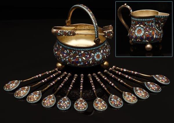 1041: Russian Klingert silver & enamel part tea service