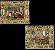 1077 Pair of Chinese export reverse paintings on glass