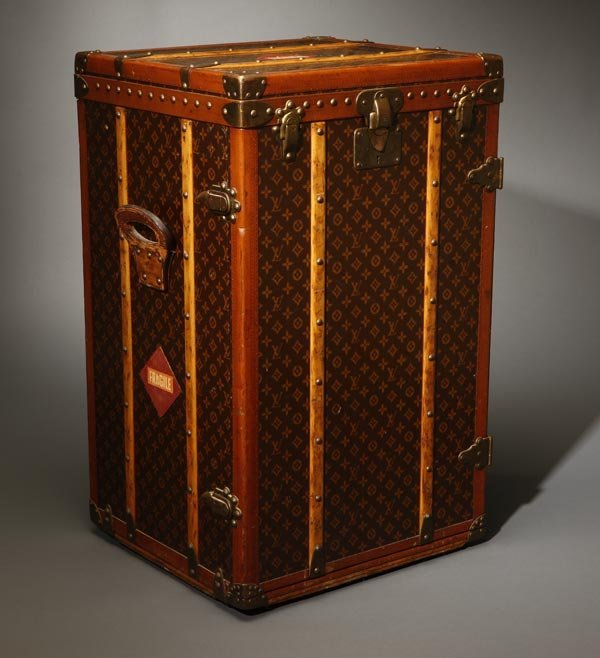 1081: Vintage Louis Vuitton malle armoire steamer trunk